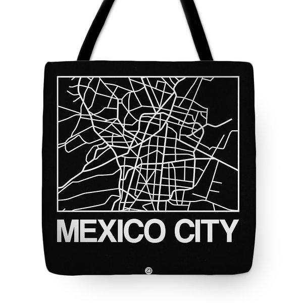 Black Map Of Mexico City Tote Bag
