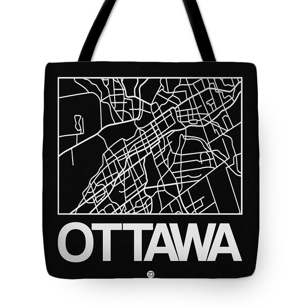 Black Map Of Ottawa Tote Bag