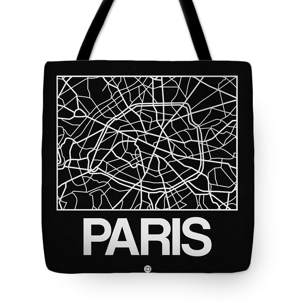 Black Map Of Paris Tote Bag