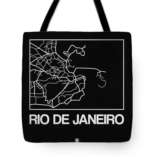 Black Map Of Rio De Janeiro Tote Bag