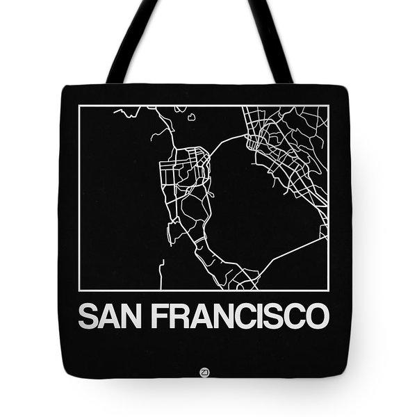 Black Map Of San Francisco Tote Bag