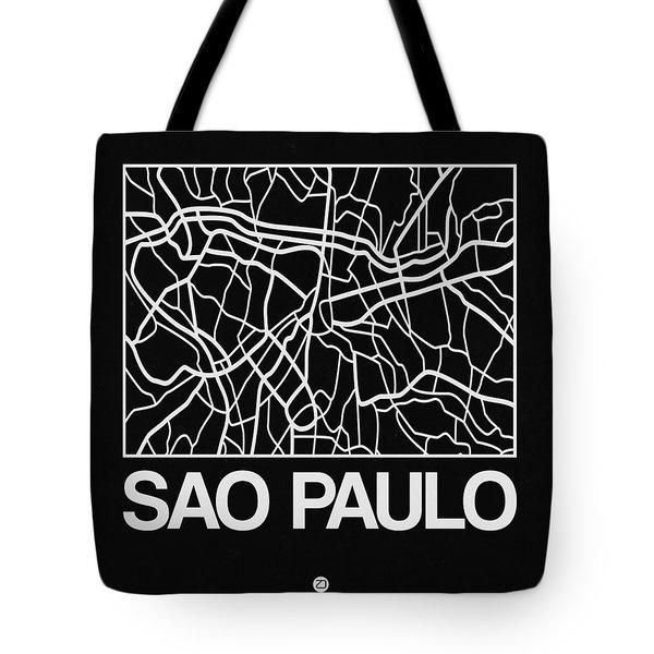 Black Map Of Sao Paulo Tote Bag