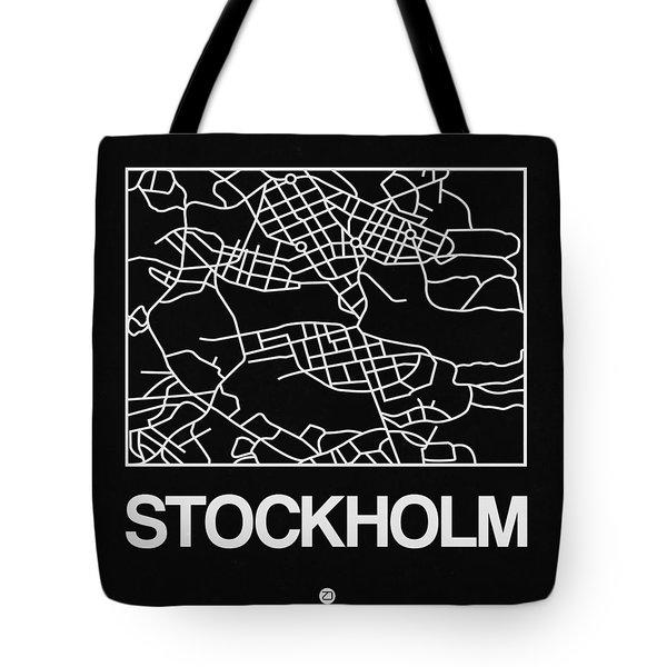 Black Map Of Stockholm Tote Bag