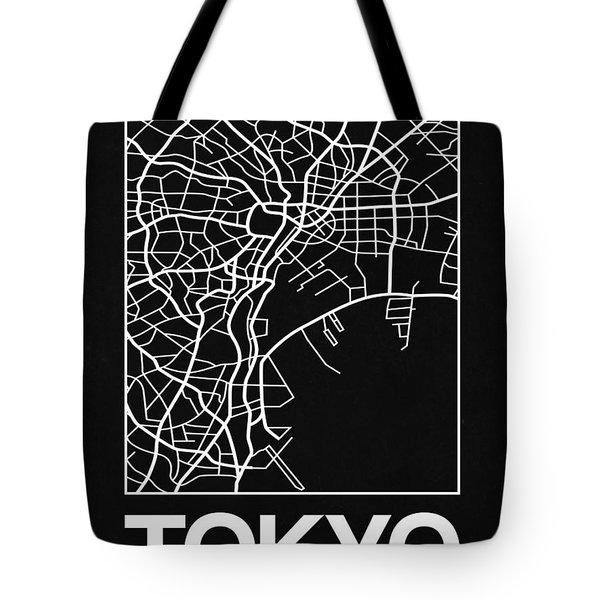 Black Map Of Tokyo Tote Bag