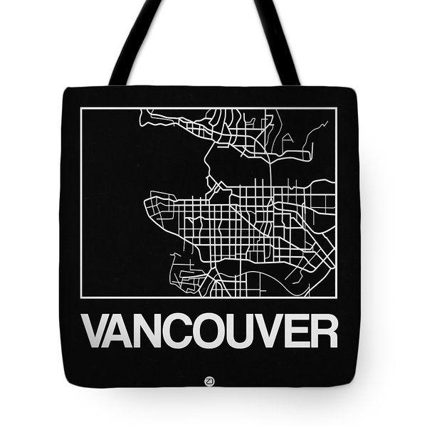 Black Map Of Vancouver Tote Bag