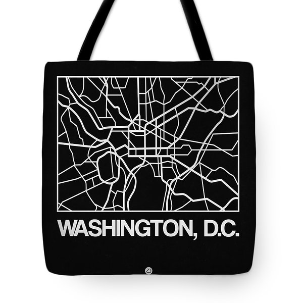 Black Map Of Washington, D.c. Tote Bag