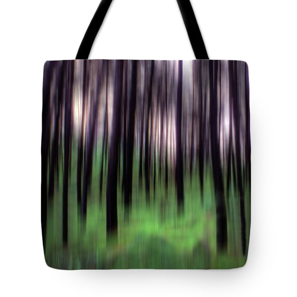 Tote Bag featuring the photograph Black Pines In A Green Wood by Wayne King