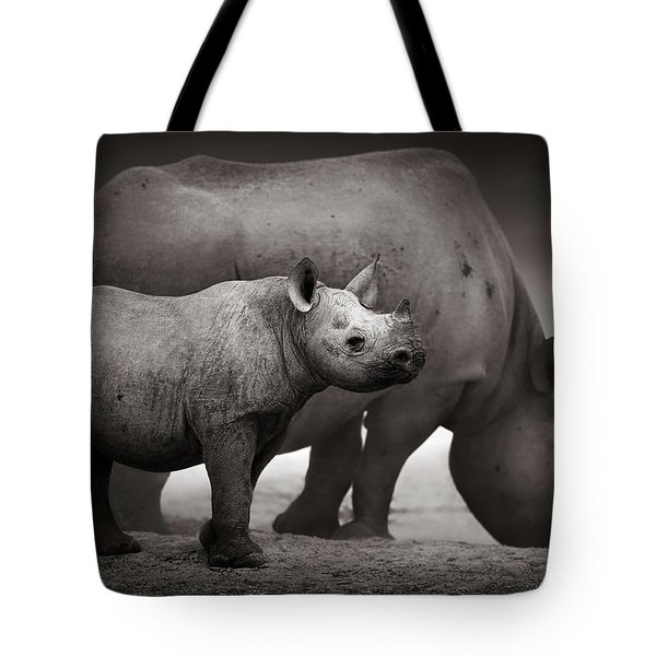 Black Rhinoceros Baby And Cow Tote Bag