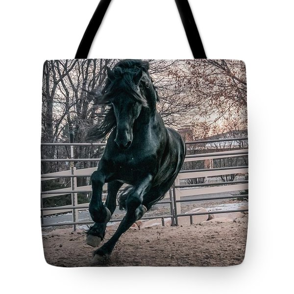 Black Stallion Cantering Tote Bag