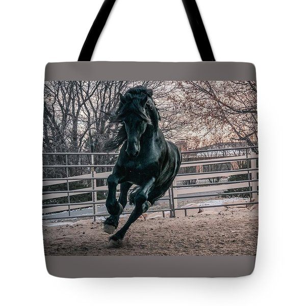 Black Stallion Cantering Tote Bag