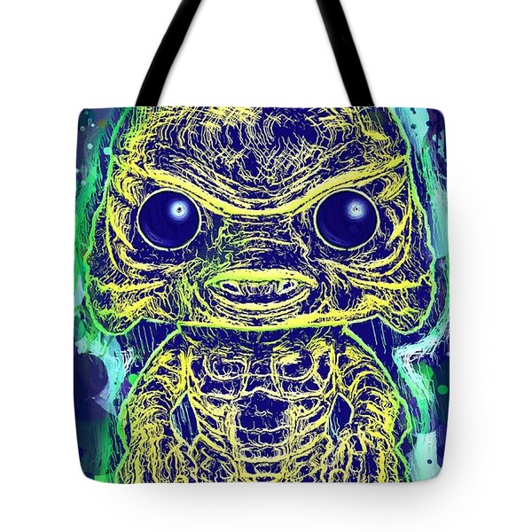 Tote Bag featuring the mixed media Creature From The Black Lagoon Pop by Al Matra