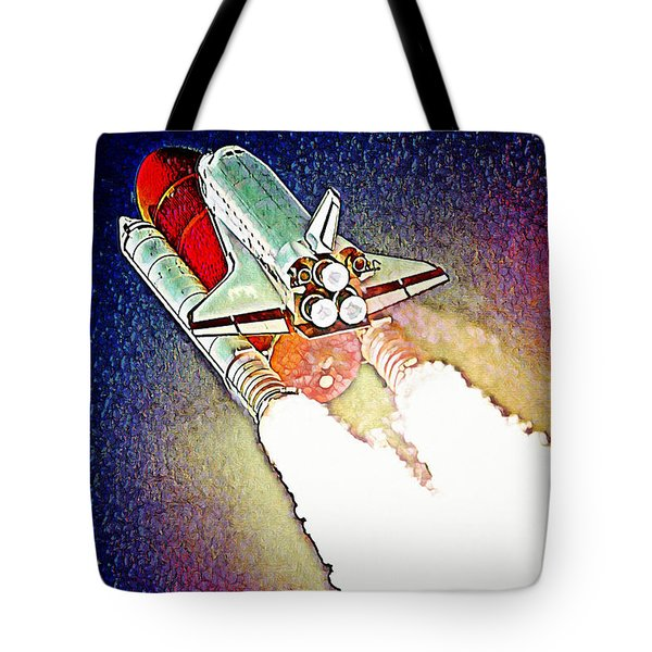 Tote Bag featuring the digital art Blast Off To Mars by Pennie McCracken