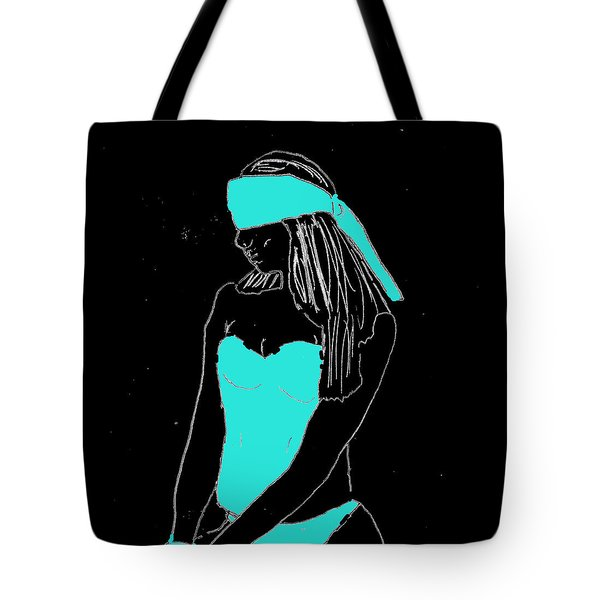 Tote Bag featuring the drawing Blindfolded by W And F Kreations