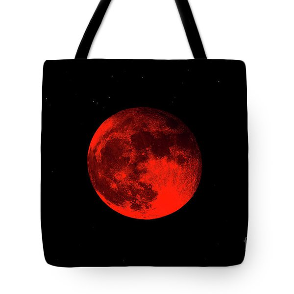 Blood Red Wolf Supermoon Eclipse 873a Tote Bag