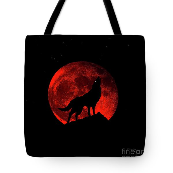 Blood Red Wolf Supermoon Eclipse 873l Tote Bag