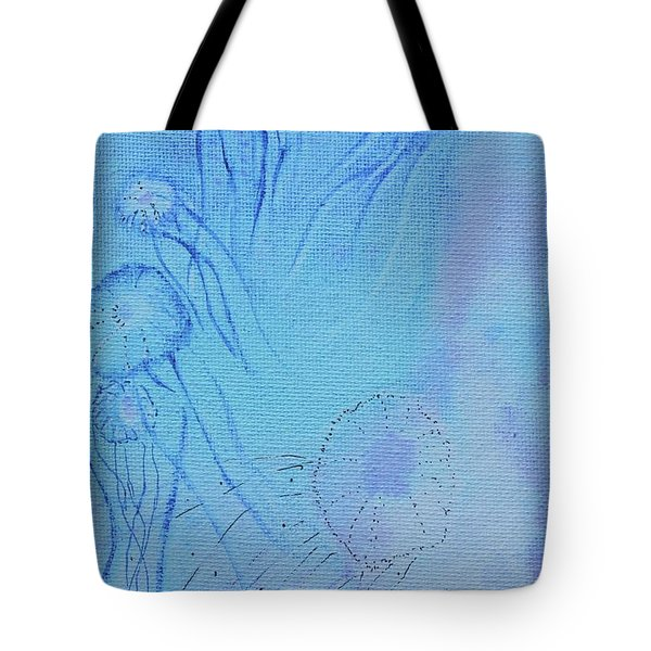 Tote Bag featuring the painting Blooming Behind The Scenes by Kim Nelson