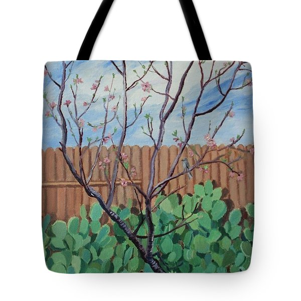 Blooming Peach In Our San Antonio Backyard Tote Bag