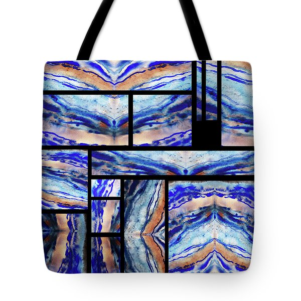 Blue Agate Mosaic Watercolor Collage Tote Bag