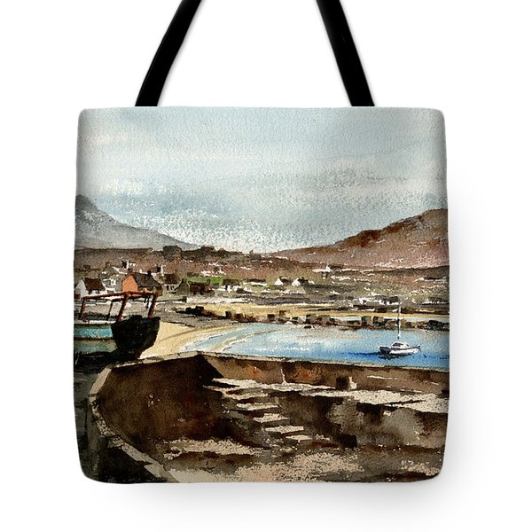 Tote Bag featuring the painting Blue Boat At Greystones Harbour by Val Byrne