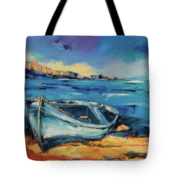 Blue Boat On The Mediterranean Beach Tote Bag