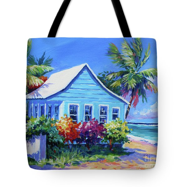 Blue Cottage On The Beach Tote Bag