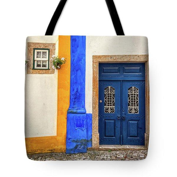 Blue Door Of Medieval Portugal Tote Bag