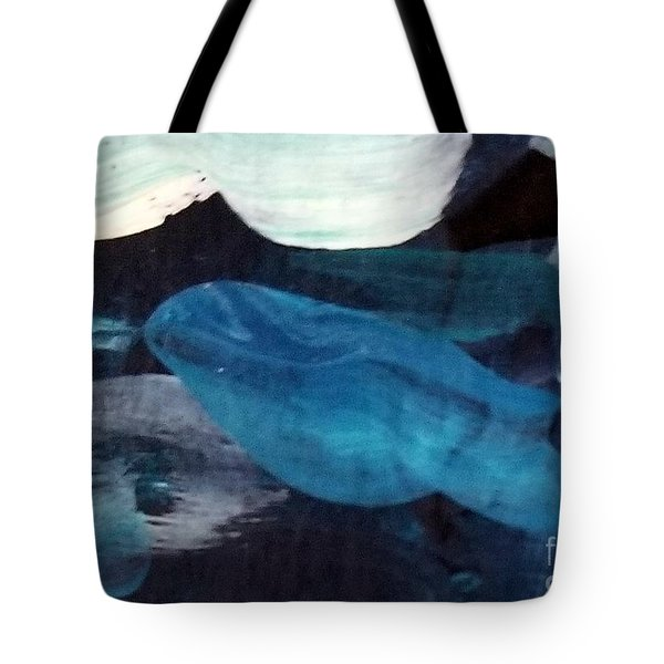 Tote Bag featuring the painting Blue Fish by Maria Langgle