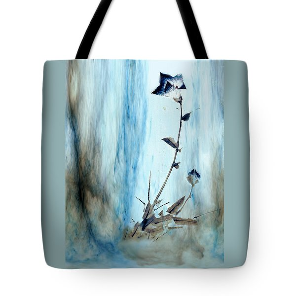 Blue Flower Abstract Tote Bag