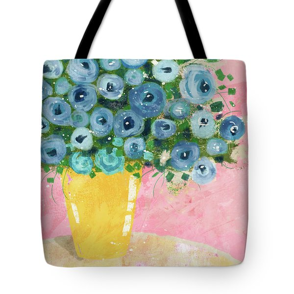 Blue Flowers In A Yellow Vase- Art By Linda Woods Tote Bag