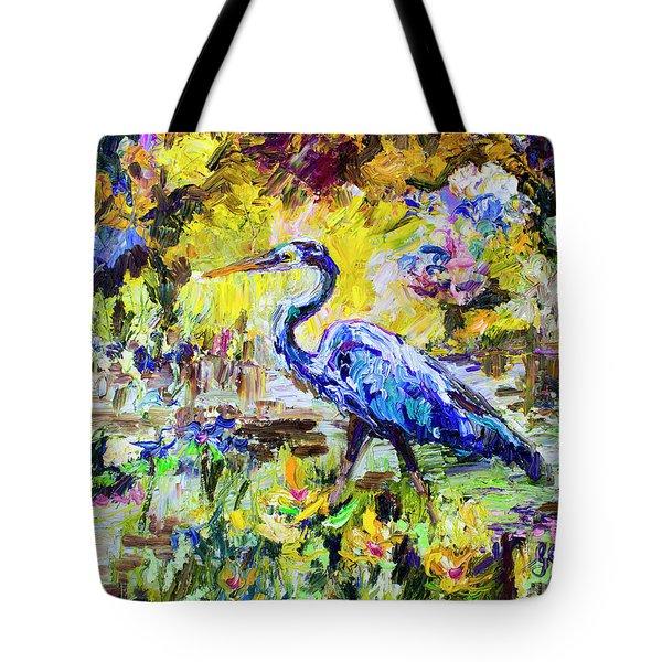 Blue Heron Wetland Magic Palette Knife Oil Painting Tote Bag
