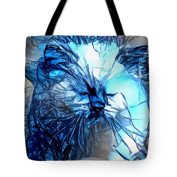 Blue Himmy Cat Tote Bag