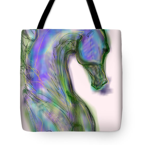 Blue Horse Painting Tote Bag