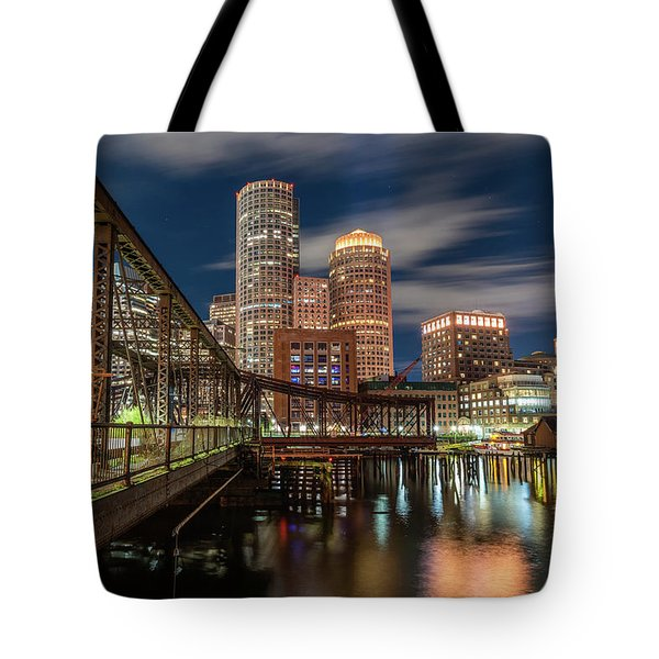 Blue Hour In Boston Harbor Tote Bag