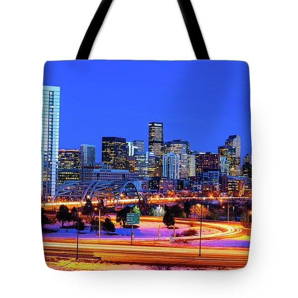 Blue Hour Over Denver Tote Bag