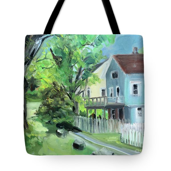 Blue House On A Spring Morning Tote Bag