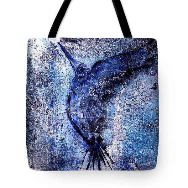 Tote Bag featuring the painting Blue Hummingbird by 'REA' Gallery
