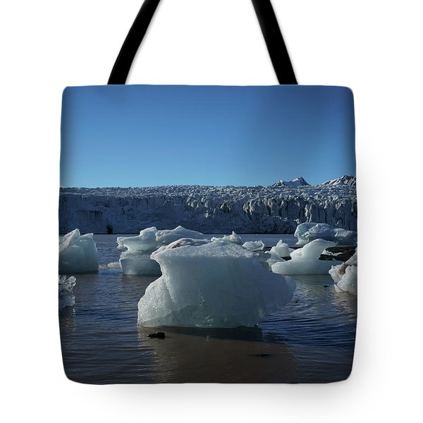 Blue Icebergs Floating Along Storm Arctic Coast Panorama Tote Bag