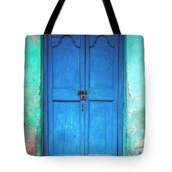 Blue Indian Door Tote Bag