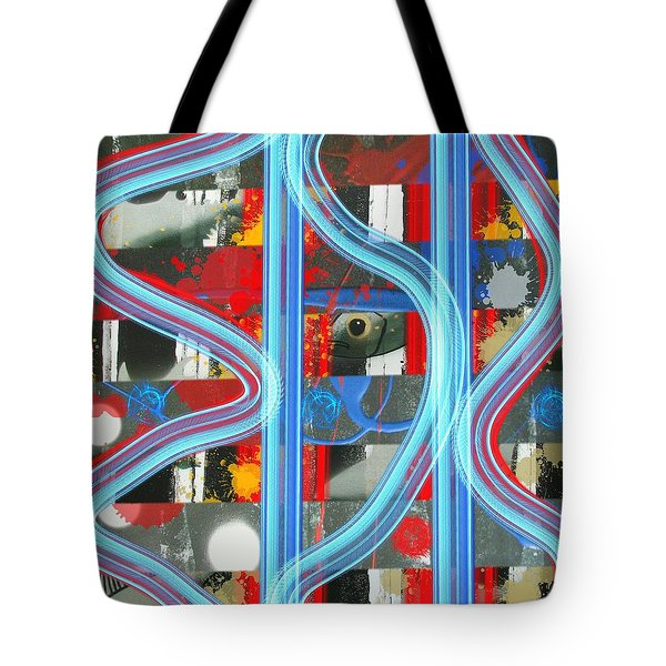 Blue Meet Red Black And White Fish Tote Bag