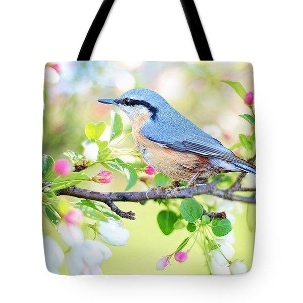 Blue Orange Bird Tote Bag