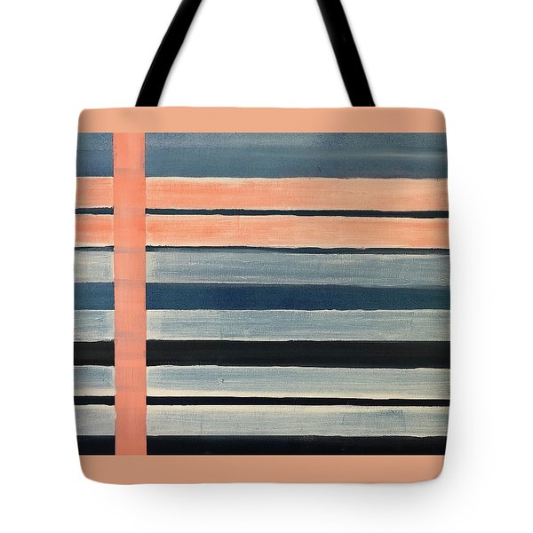 Blue Peachy Stripes Tote Bag