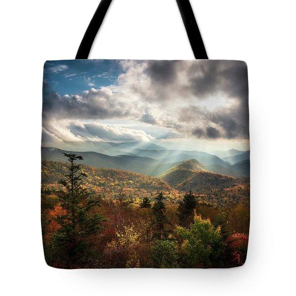 Blue Ridge Mountains Asheville Nc Scenic Autumn Landscape Photography Tote Bag