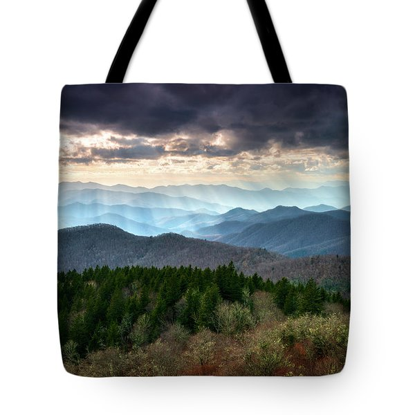 Blue Ridge Mountains Asheville Nc Scenic Light Rays Landscape Photography Tote Bag