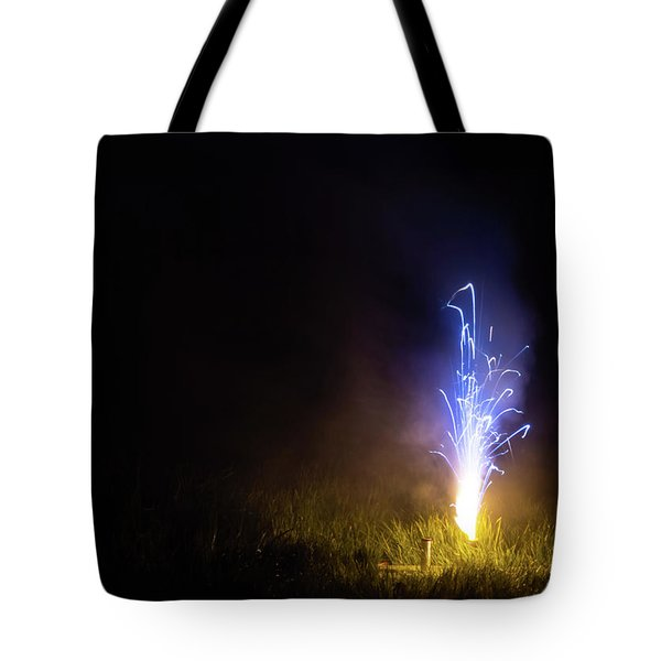 Tote Bag featuring the photograph Blue Roman Candle by Scott Lyons