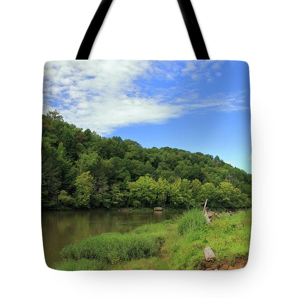 Tote Bag featuring the photograph Blue Sky At Cumberland River by Angela Murdock