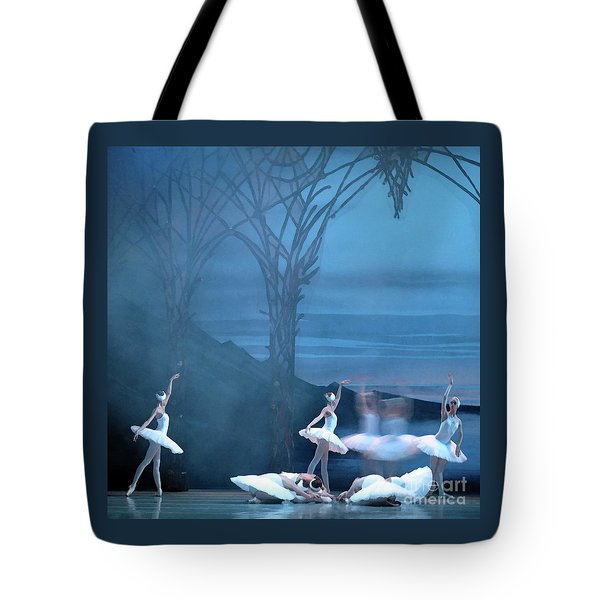 Tote Bag featuring the photograph Blue Swans by PJ Boylan