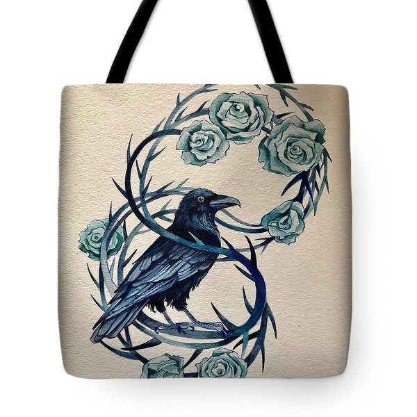Tote Bag featuring the painting Blue Thorn Raven by Camille Rendal