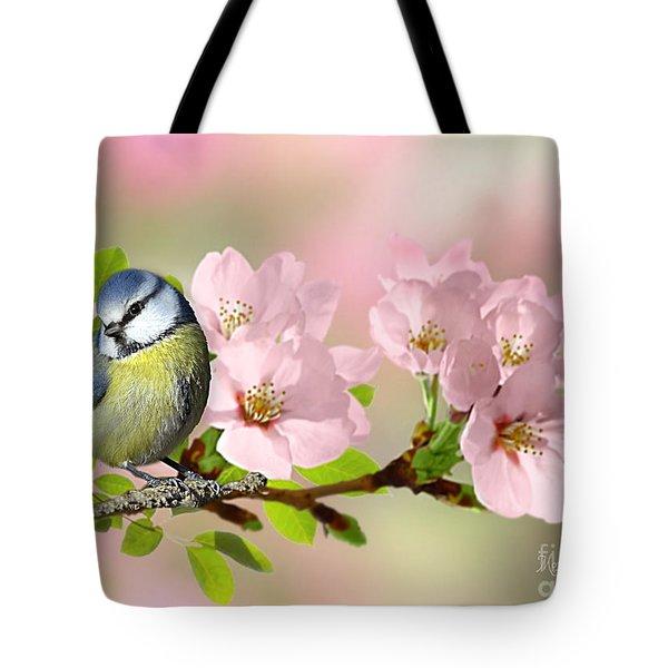Blue Tit On Apple Blossom Tote Bag