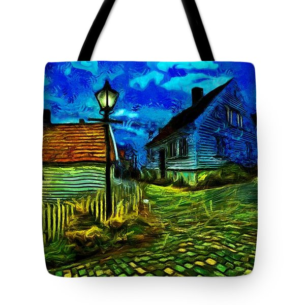 Tote Bag featuring the painting Blue Town by Harry Warrick