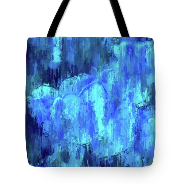Blue Tulips On A Rainy Day Tote Bag